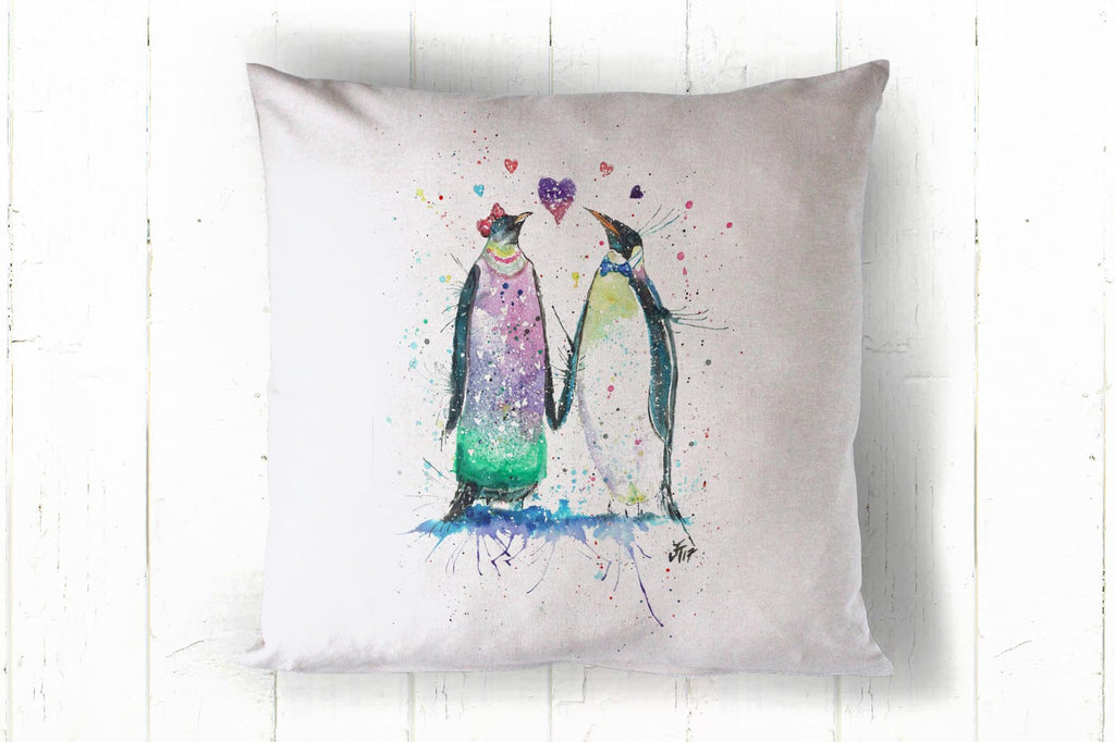 Valentine penguins 40 x 40cm cushion cover