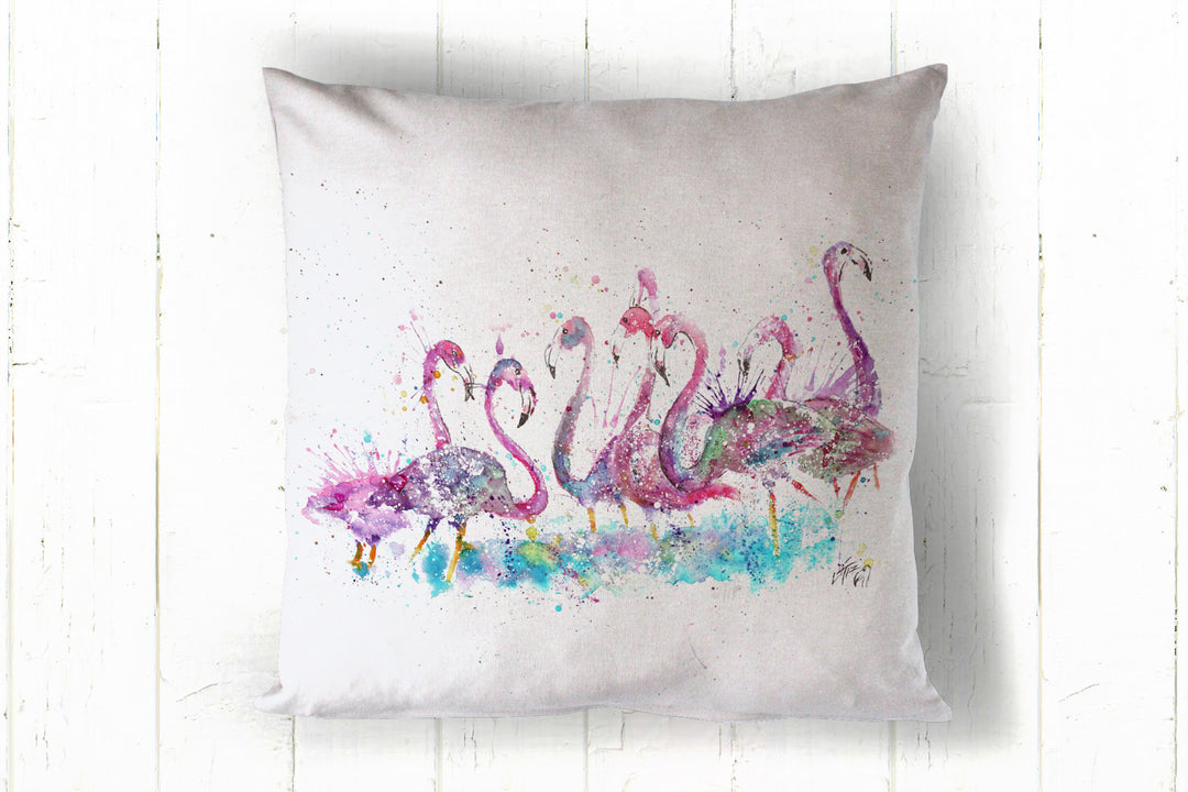 """flamboyance"" flamingo 40 x 40cm cushion cover"