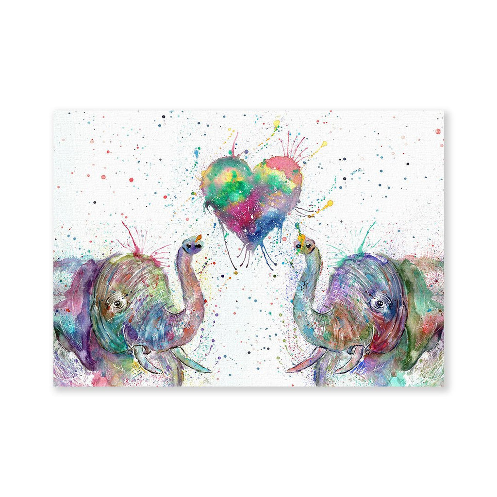 Romantic Elephants Signed Fine Art Print