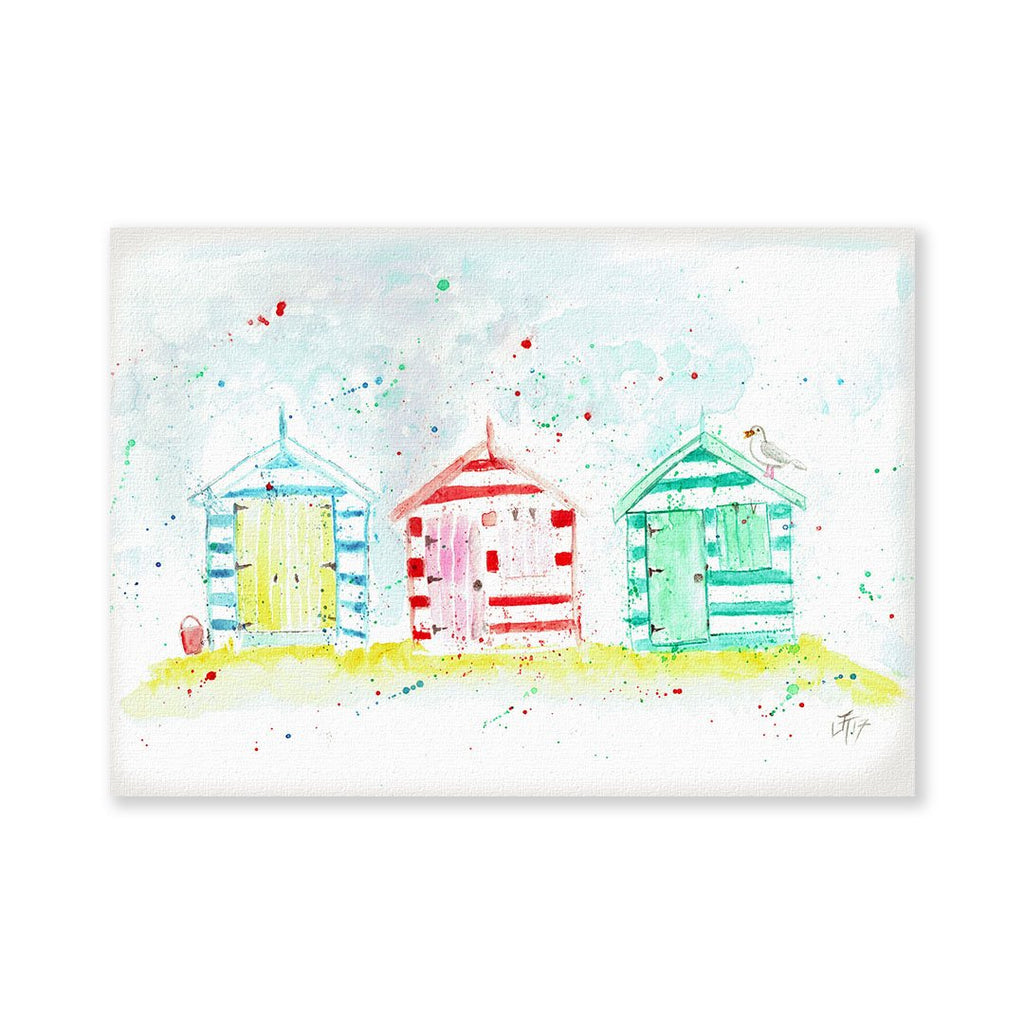 Beach Huts Signed Fine Art Print