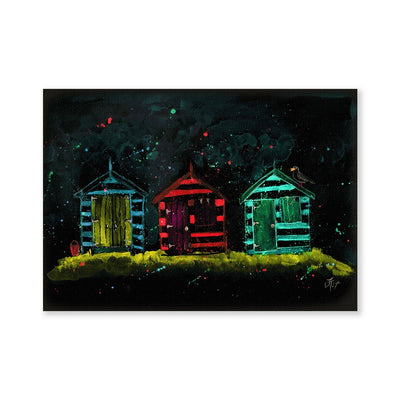 Beach Huts Enchanted Signed Fine Art Print