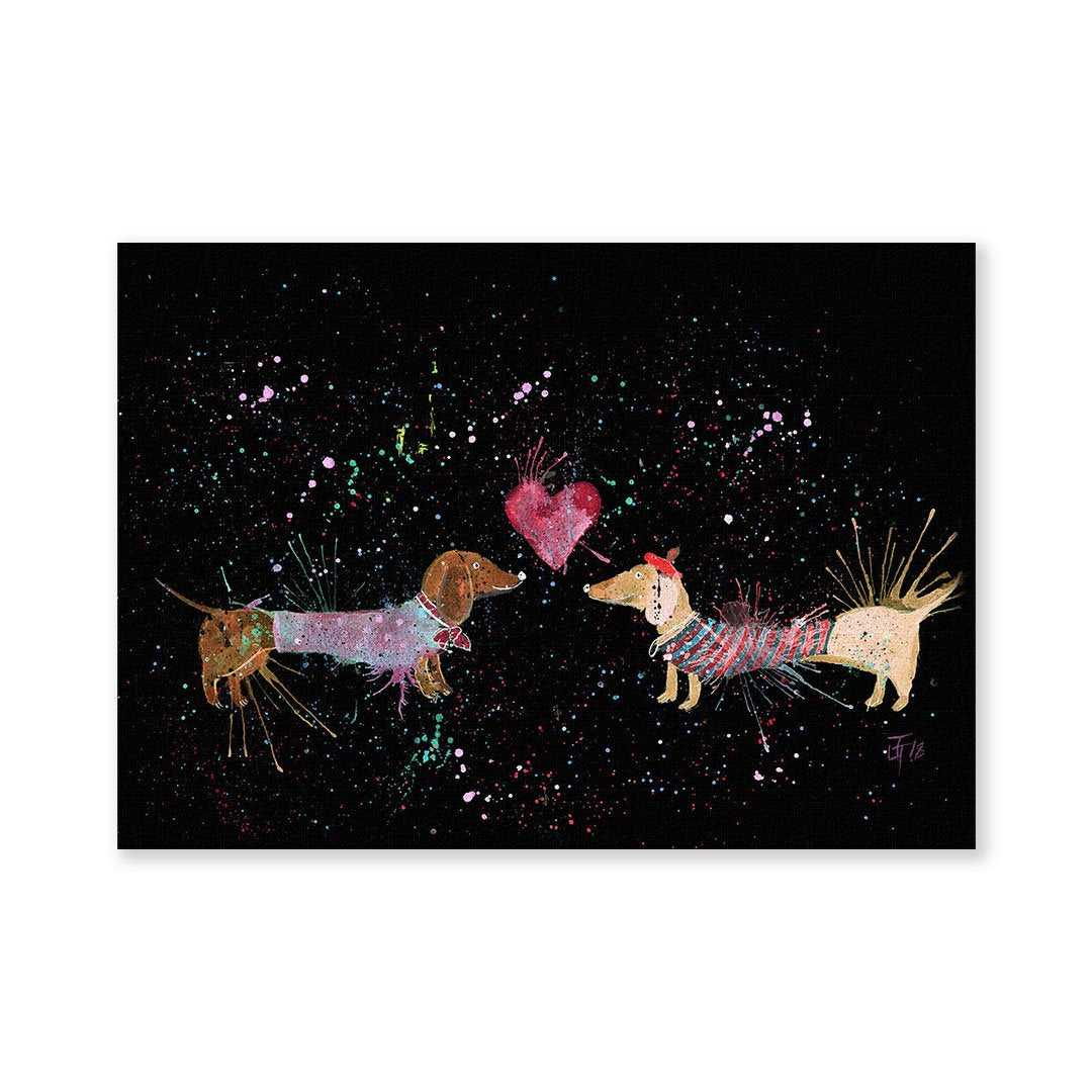 Sausage Dogs in Love Enchanted Signed Fine Art Print