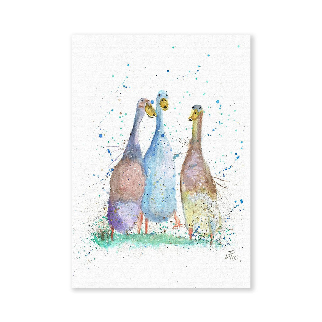 Three Runner Ducks Signed Fine Art Print