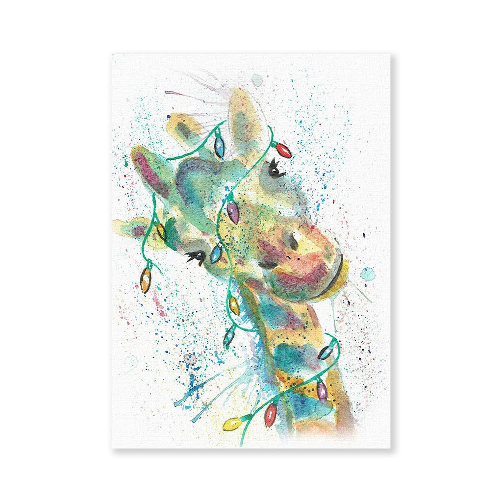 "Christmas ""Hattie"" Giraffe Signed Fine Art Print"