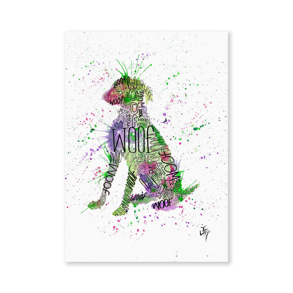 """Woof"" Green Signed Fine Art Print"