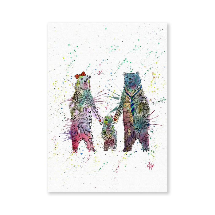 Mummy, Babby, Daddy Bears Signed Fine Art Print