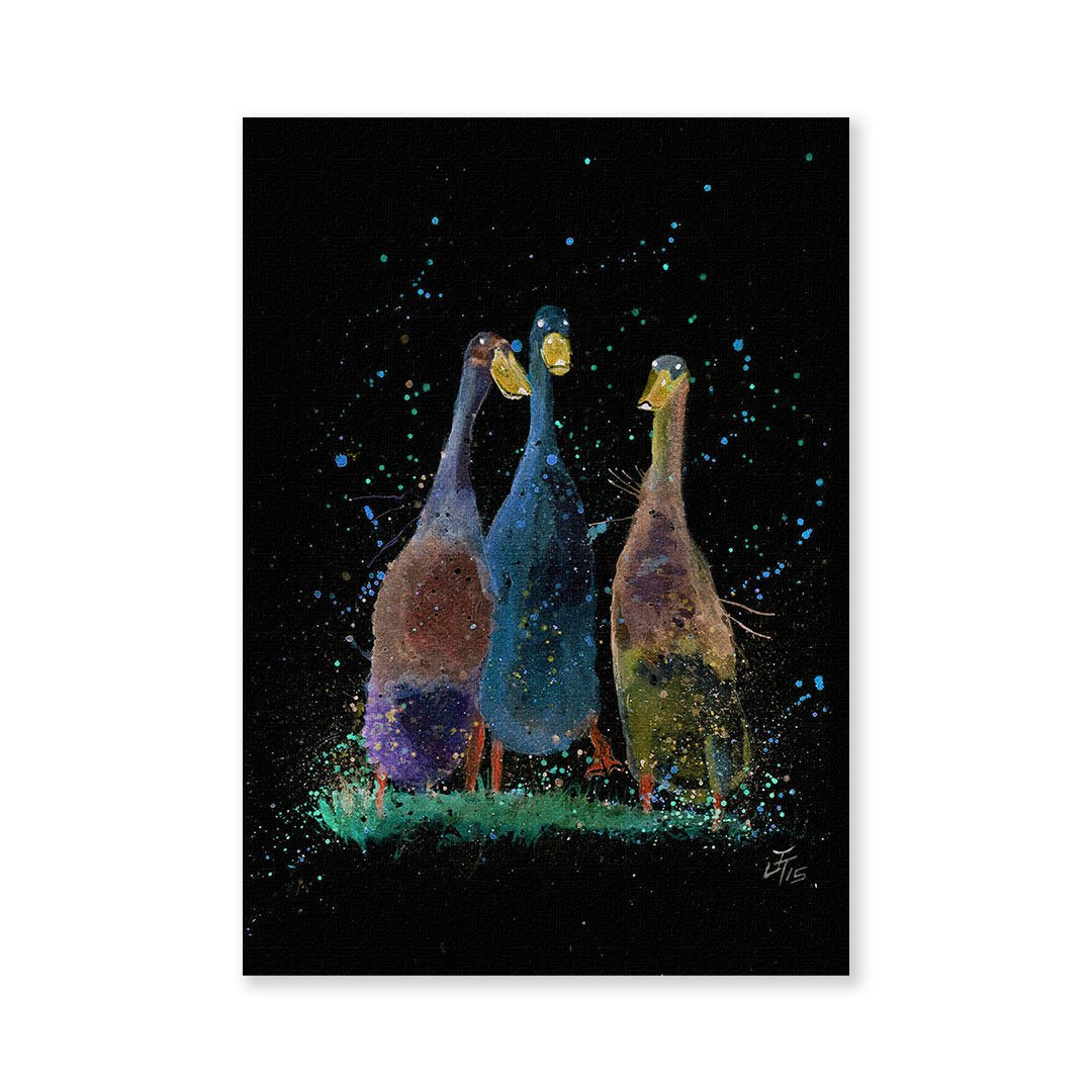 Three Runner Ducks Enchanted Signed Fine Art Print