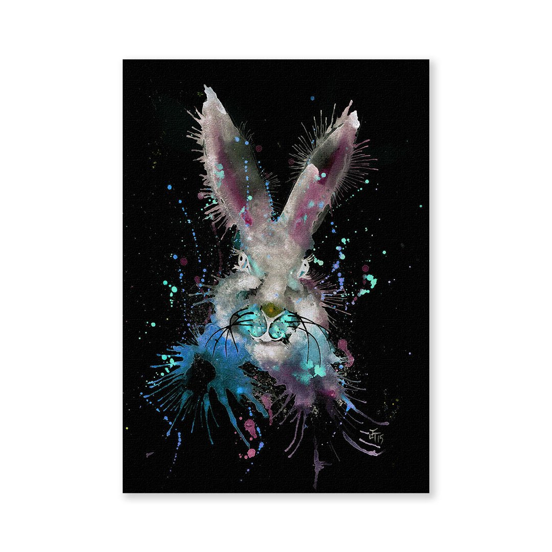 """Hi!"" Black Bunny Enchanted Signed Fine Art Print"