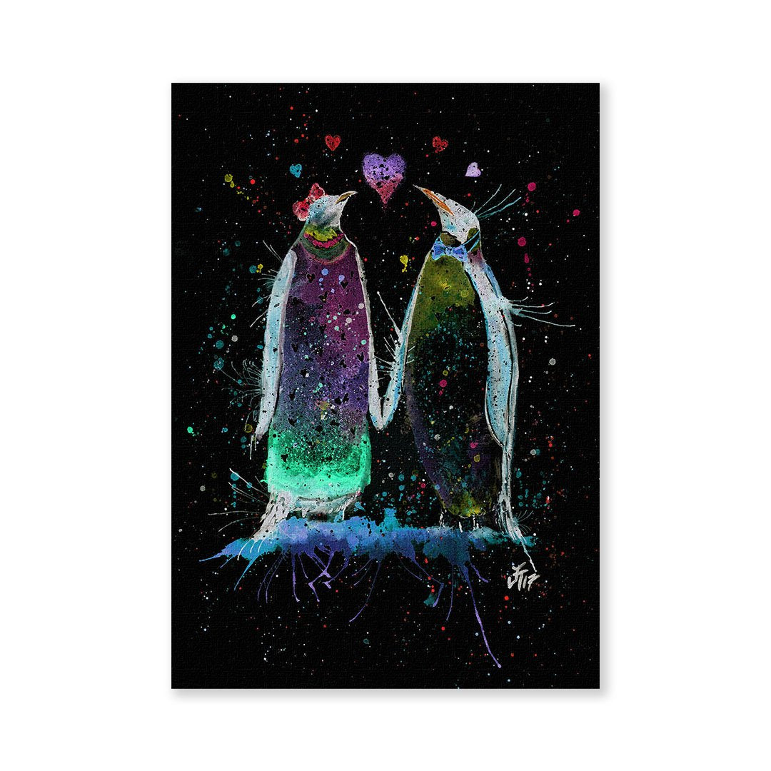Valentines Penguins Enchanted Signed Fine Art Print