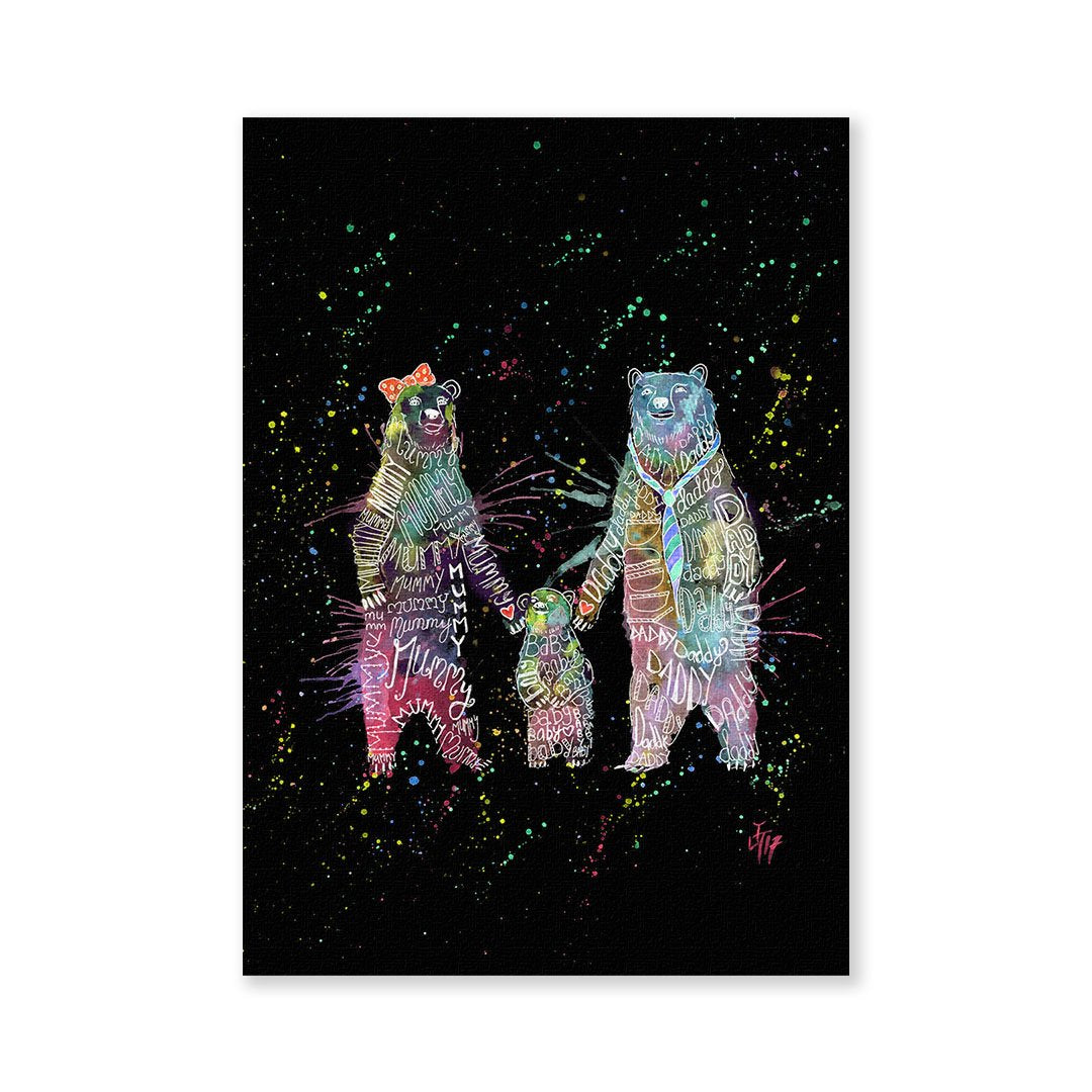 Mummy, Babby, Daddy Bears Enchanted Signed Fine Art Print