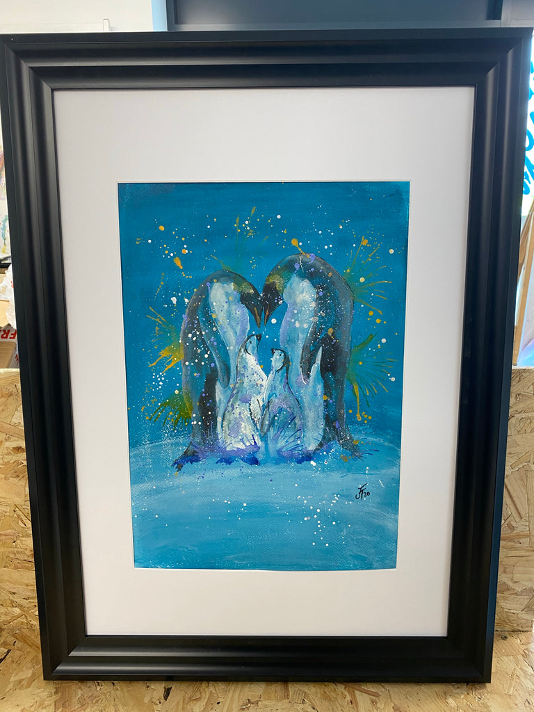 Penguin family original framed
