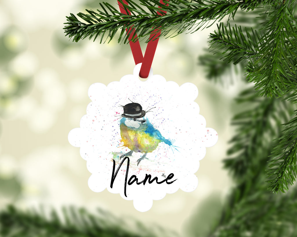 """Bluetit Bowler"" Personalised Aluminium Christmas Decoration"