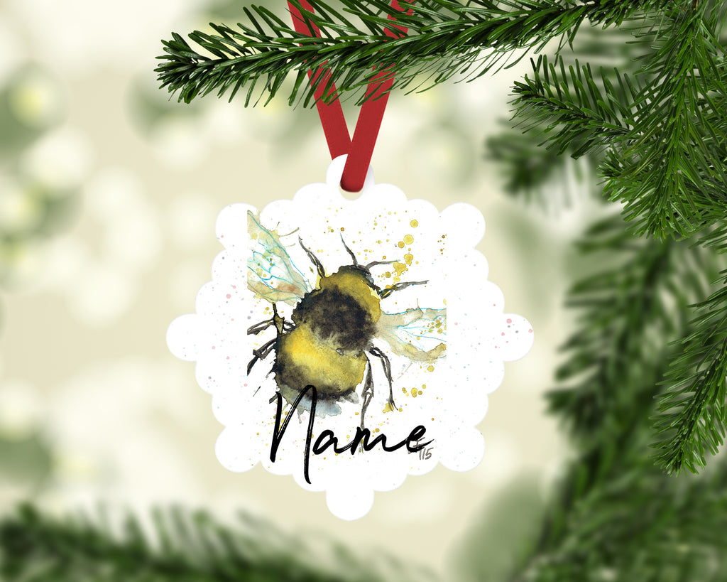 bumble bee personalised aluminium christmas decoration