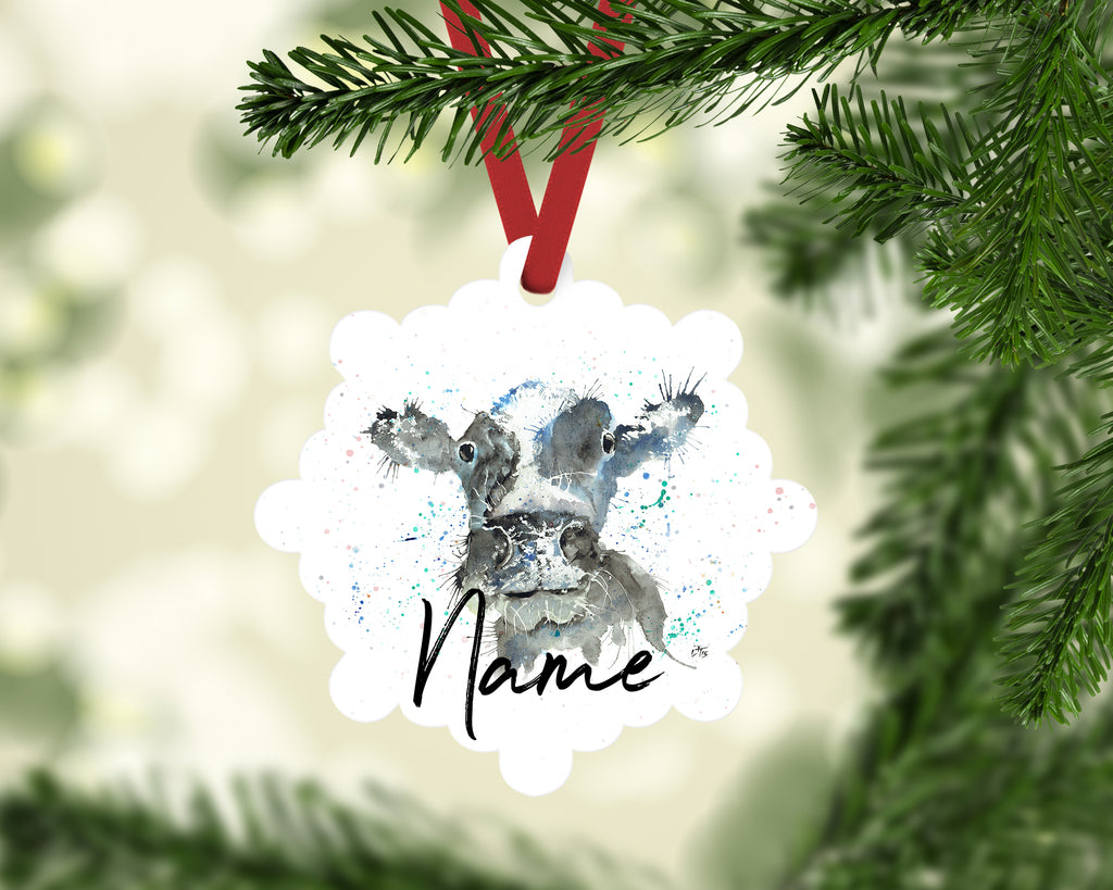 """Moo Cow"" Personalised Aluminium Christmas Decoration"