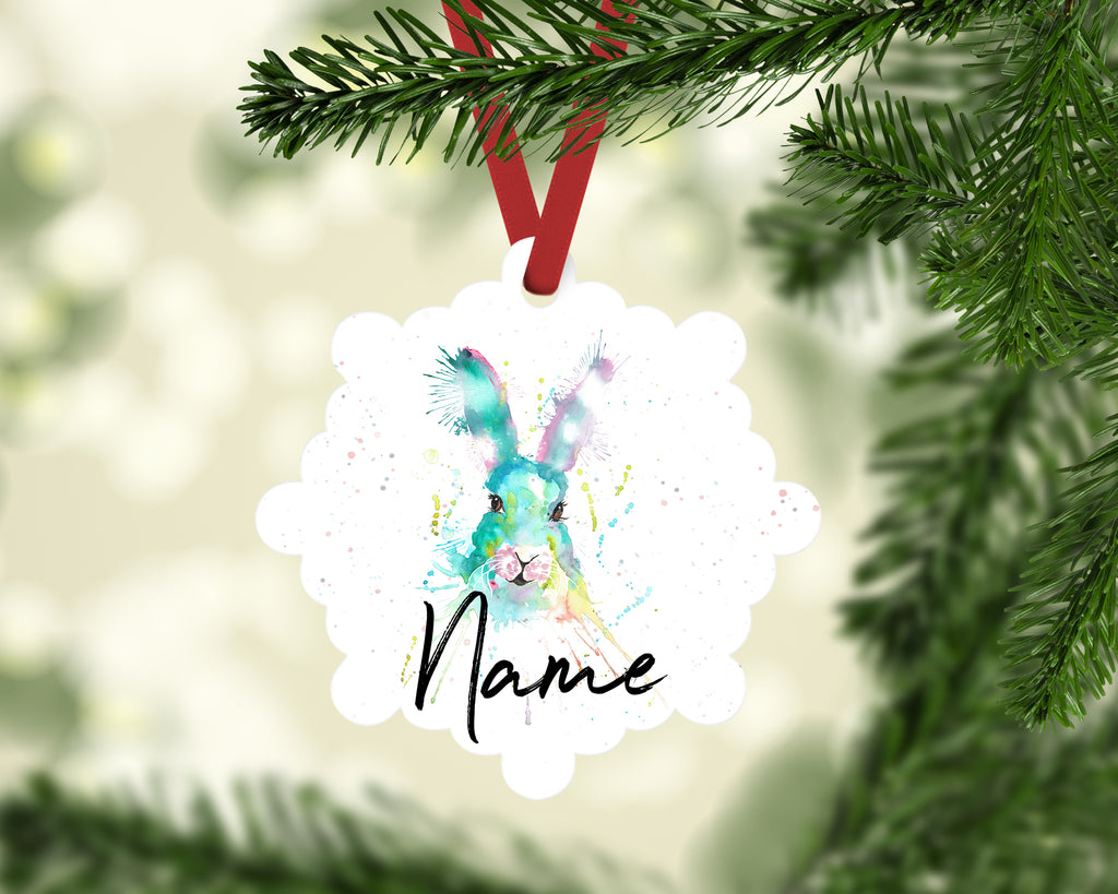 """Pink & Green Hare"" Personalised Aluminium Christmas Decoration"
