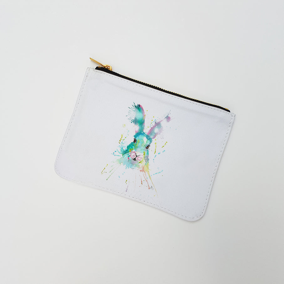 """Pink & Green Hare"" Large Coin Pouch"