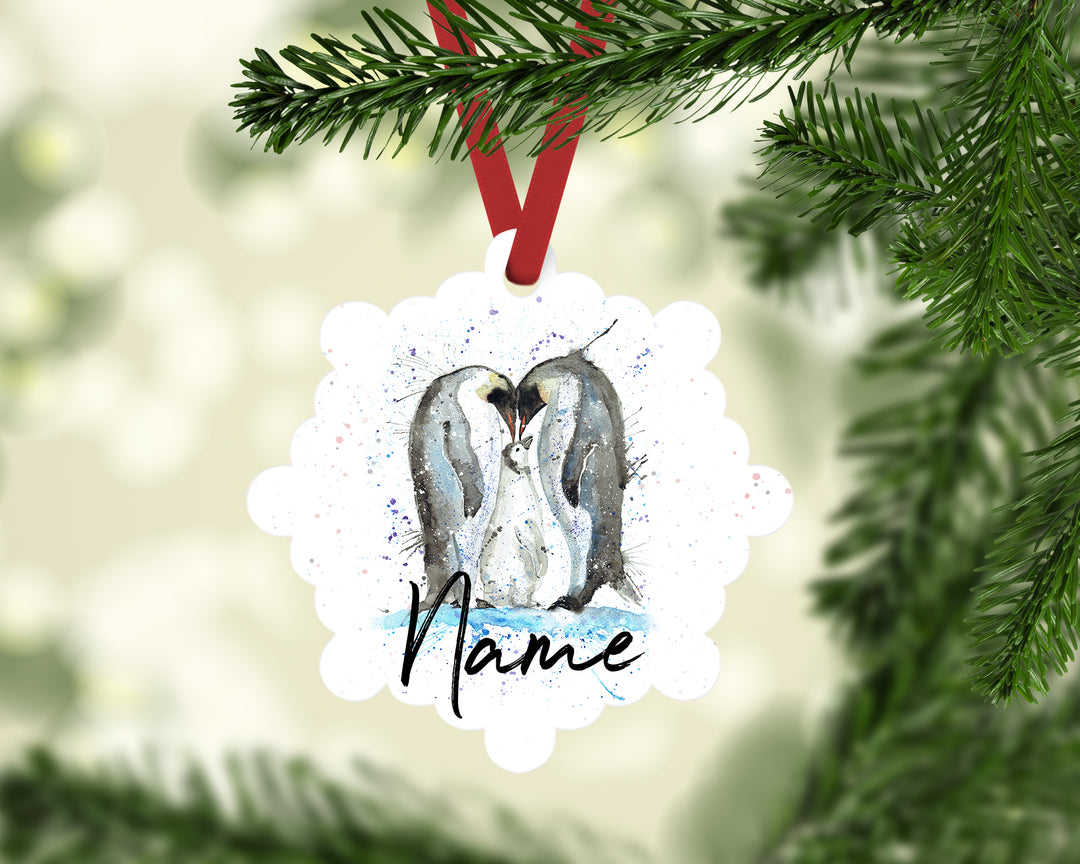 """Family Penguins"" Personalised Aluminium Christmas Decoration"