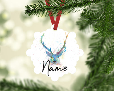 """Bruce Stag"" Personalised Aluminium Christmas Decoration"