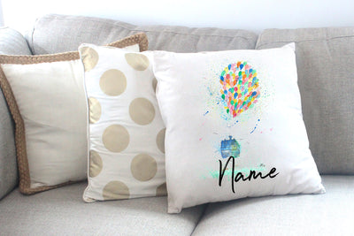 """Balloon House"" Personalised Cushion Cover"
