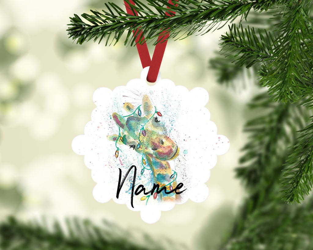 """Christmas Giraffe"" Personalised Aluminium Christmas Decoration"