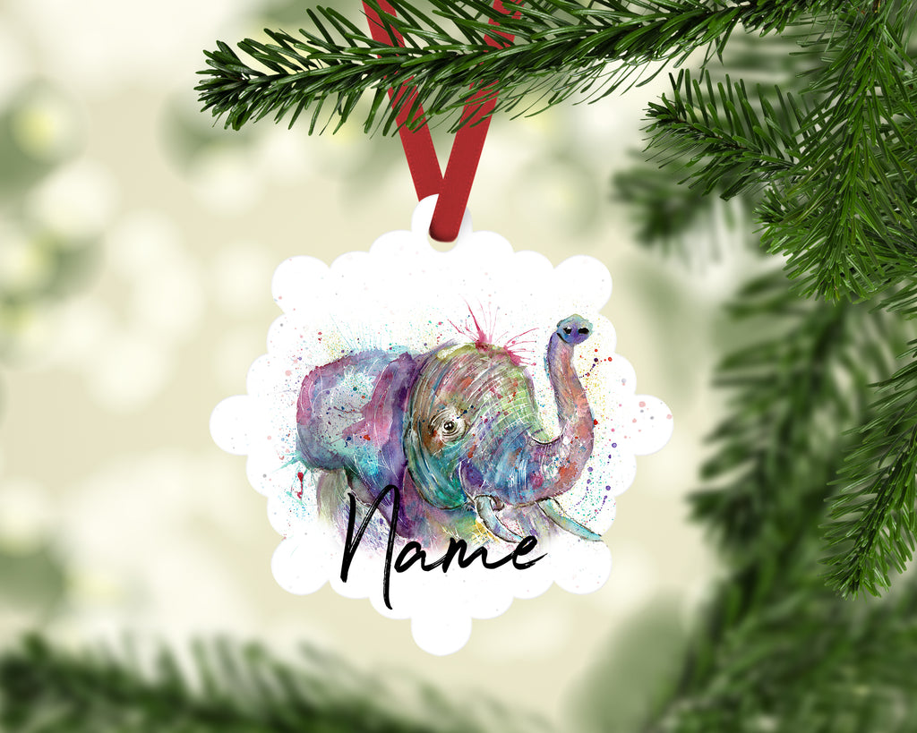 """Ele Elephant"" Personalised Aluminium Christmas Decoration"