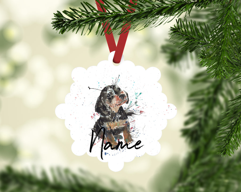 """Pierre Dacshund"" Personalised Aluminium Christmas Decoration"