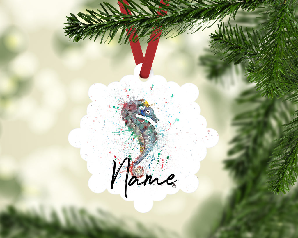 """Sea Seahorse"" Personalised Aluminium Christmas Decoration"
