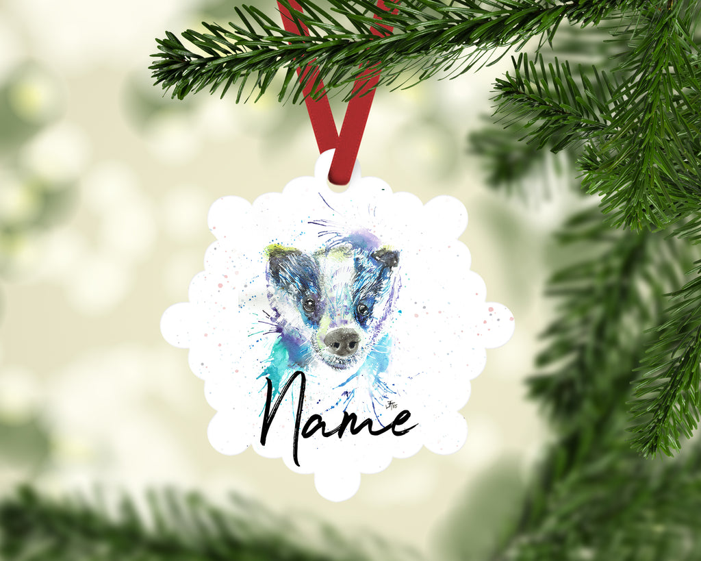 """Badge Badger"" Personalised Aluminium Christmas Decoration"