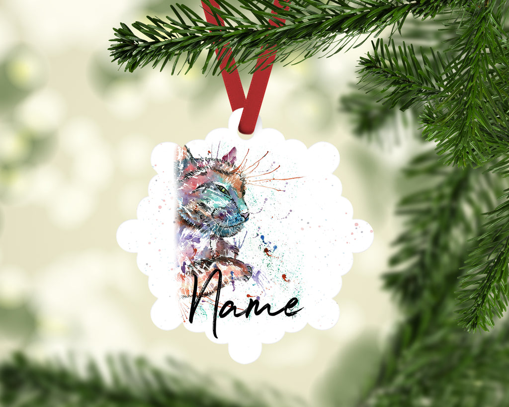 """Dave Cat"" Personalised Aluminium Christmas Decoration"