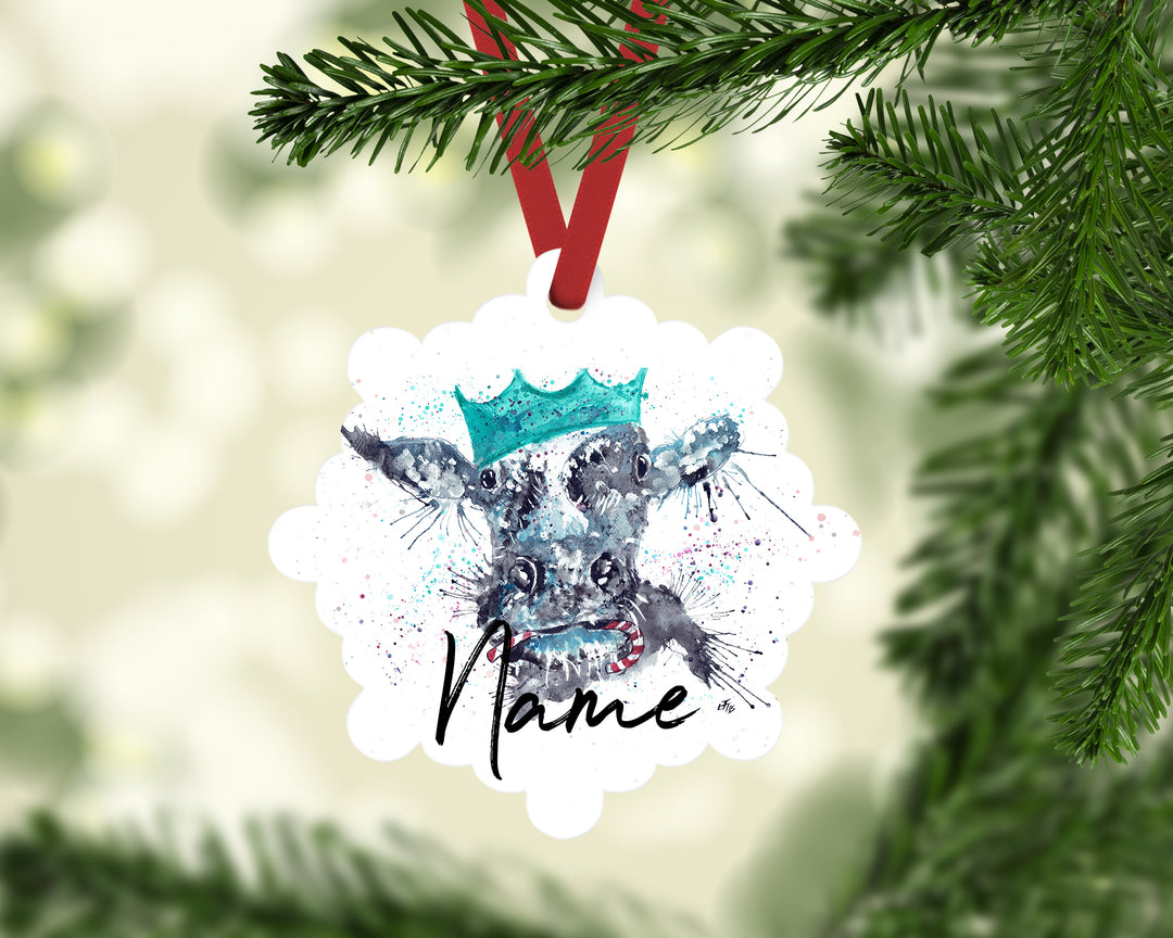"""Christmas Moo"" Personalised Aluminium Christmas Decoration"