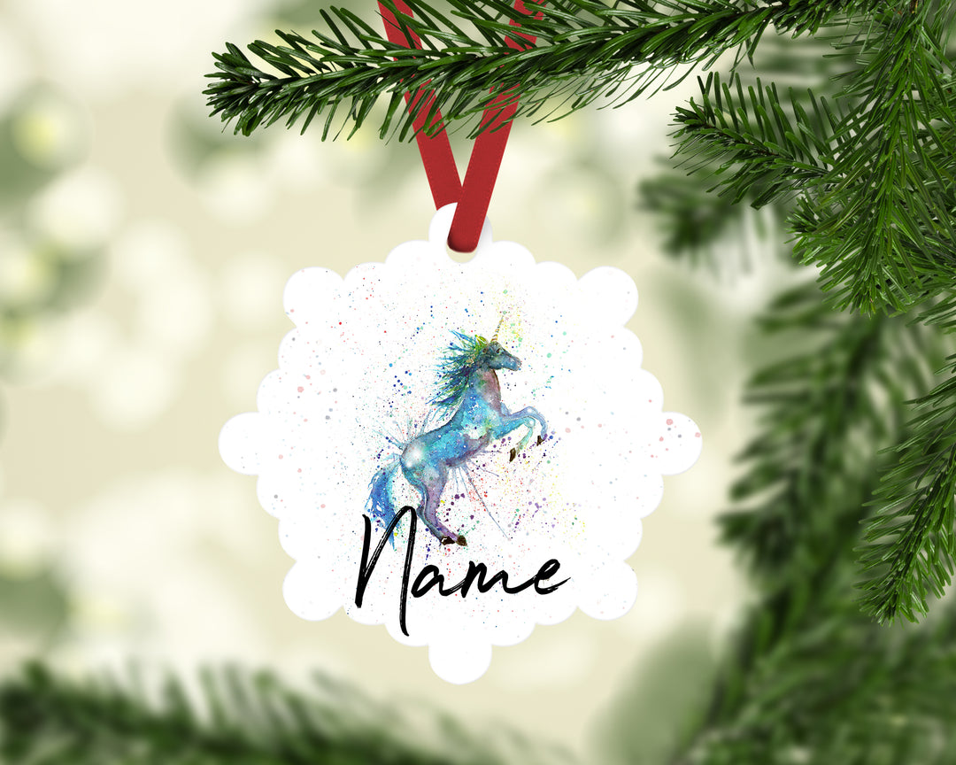 """Blue Unicorn"" Personalised Aluminium Christmas Decoration"