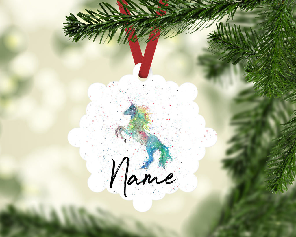 """Rainbow Unicorn"" Personalised Aluminium Christmas Decoration"
