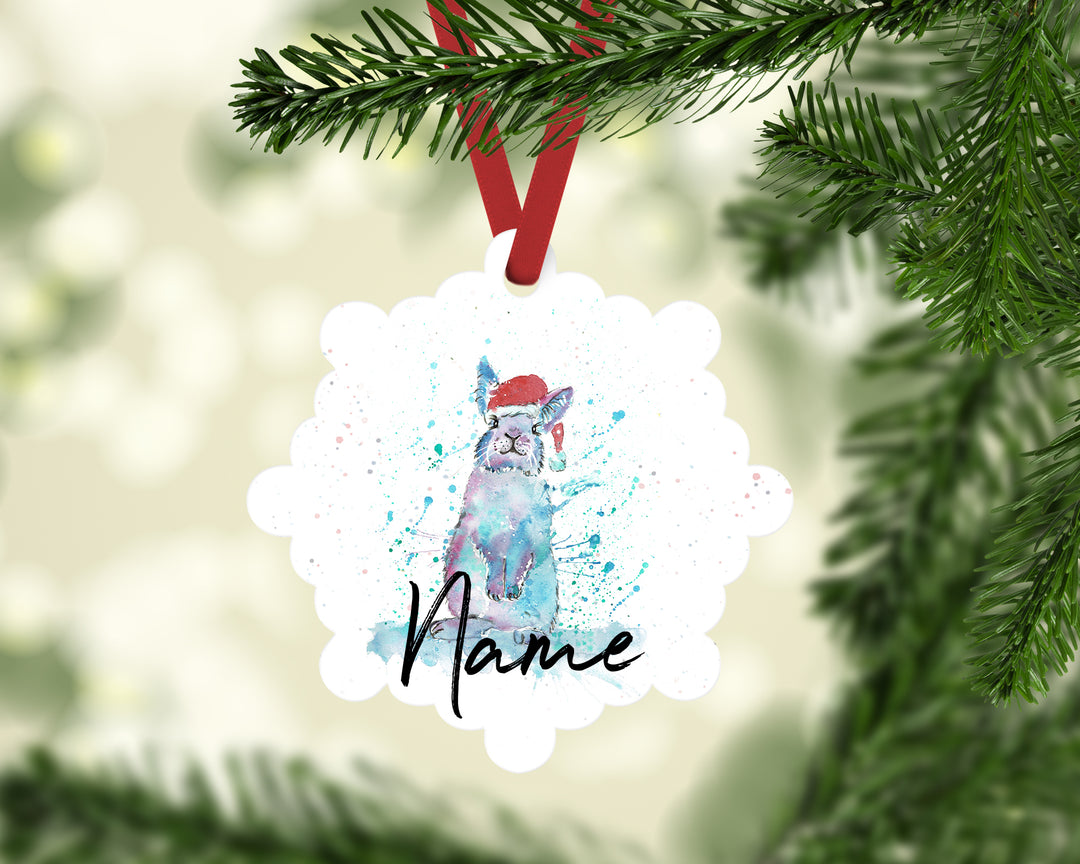 """Christmas Bunny"" Personalised Aluminium Christmas Decoration"