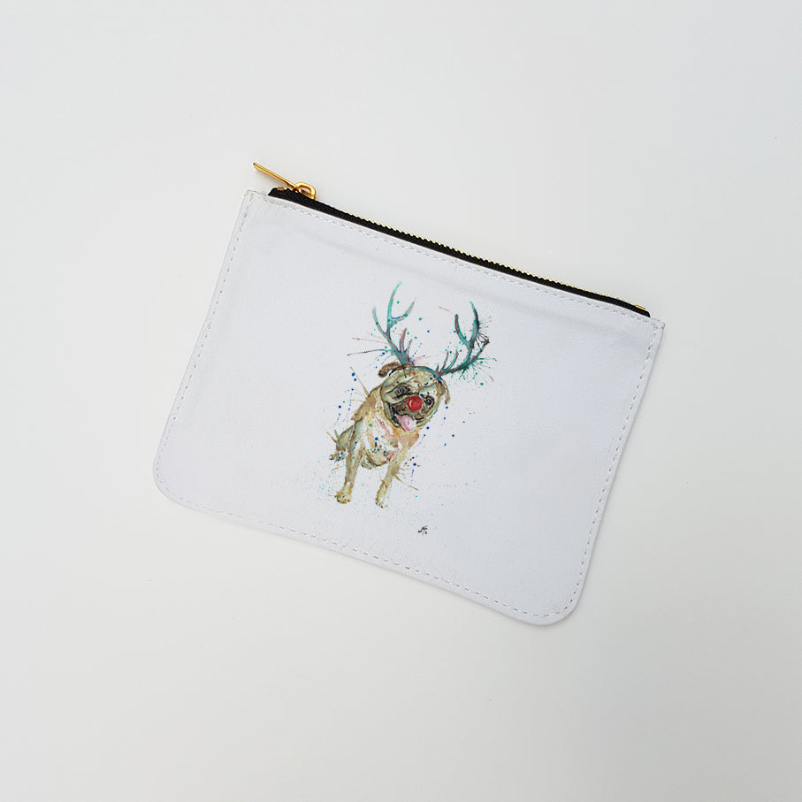 """Christmas Pug"" Large Coin Pouch"