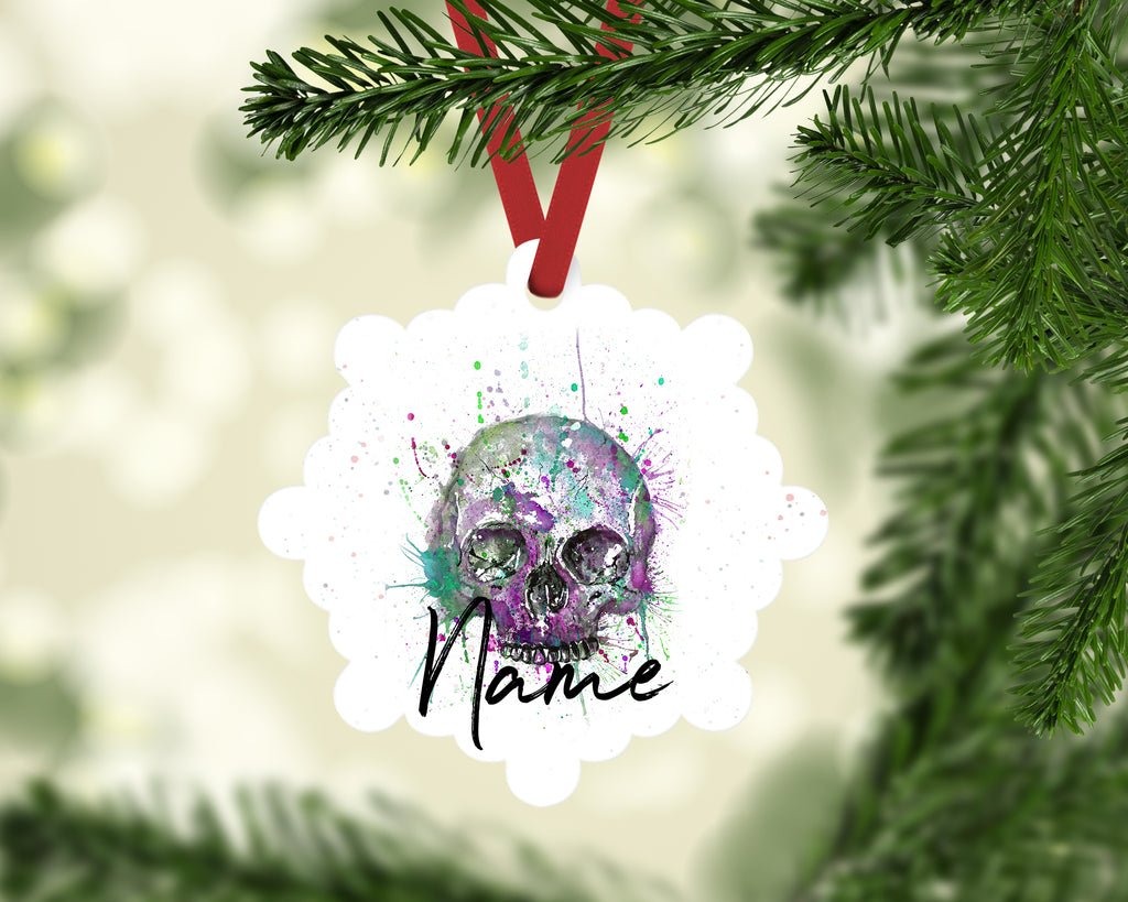 """Purple Skull"" Personalised Aluminium Christmas Decoration"