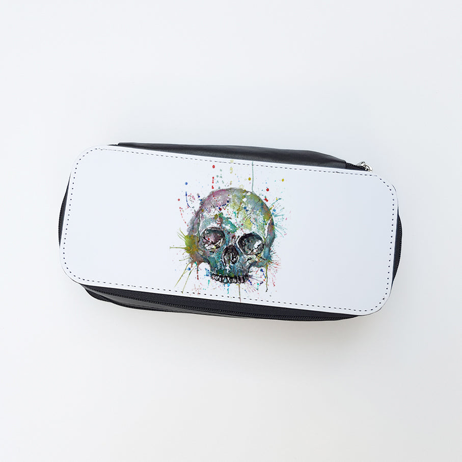 """Blue Skull"" Ladies Makeup Bag"