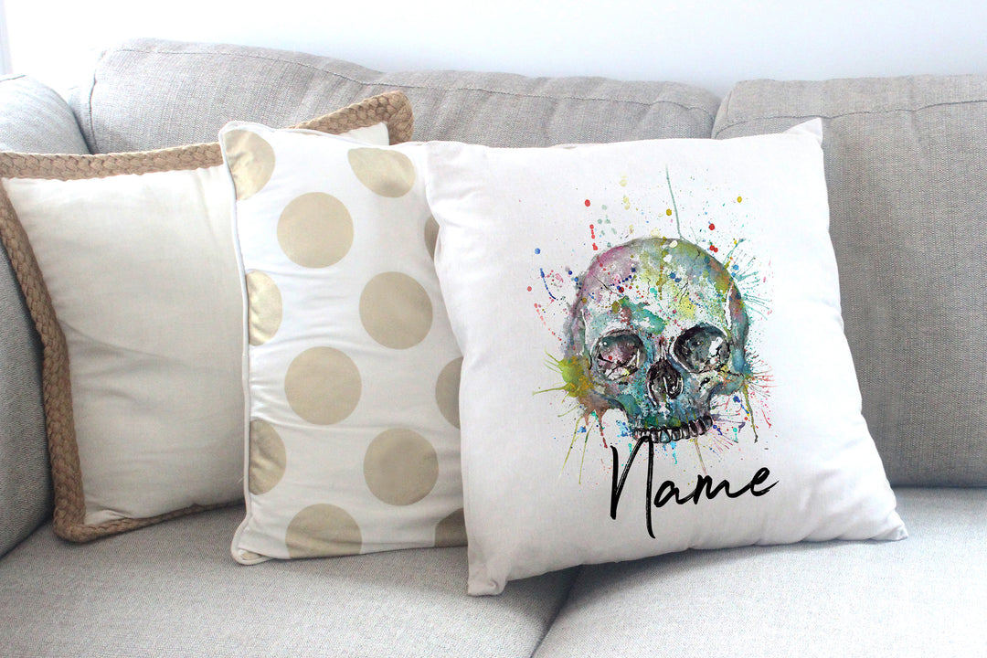 """Blue Skull"" Personalised Cushion Cover"