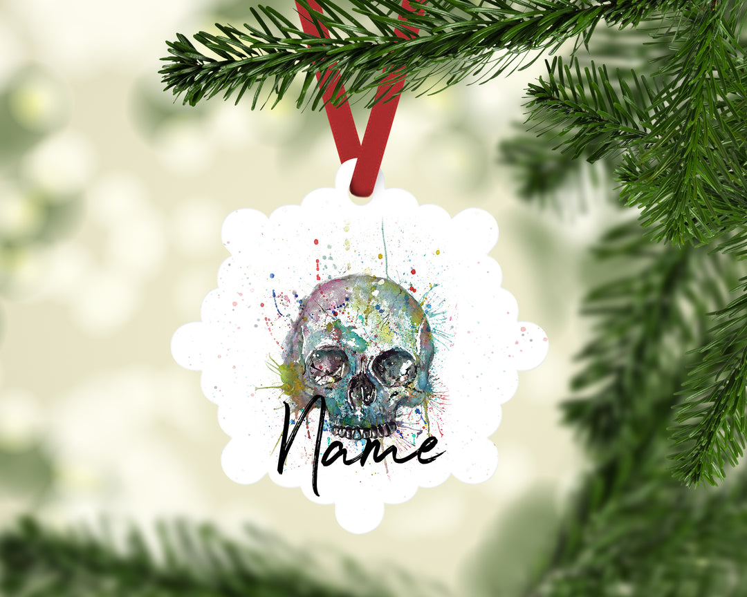 """Blue Skull"" Personalised Aluminium Christmas Decoration"
