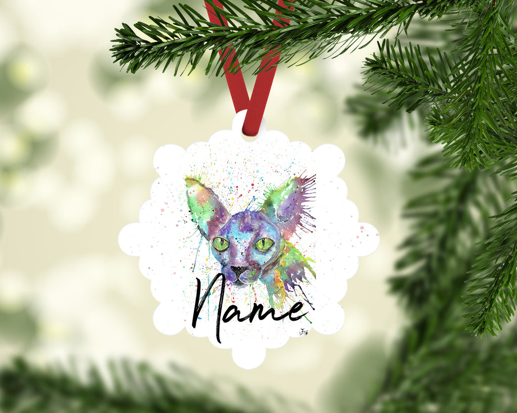 """Brian Sphynx"" Personalised Aluminium Christmas Decoration"