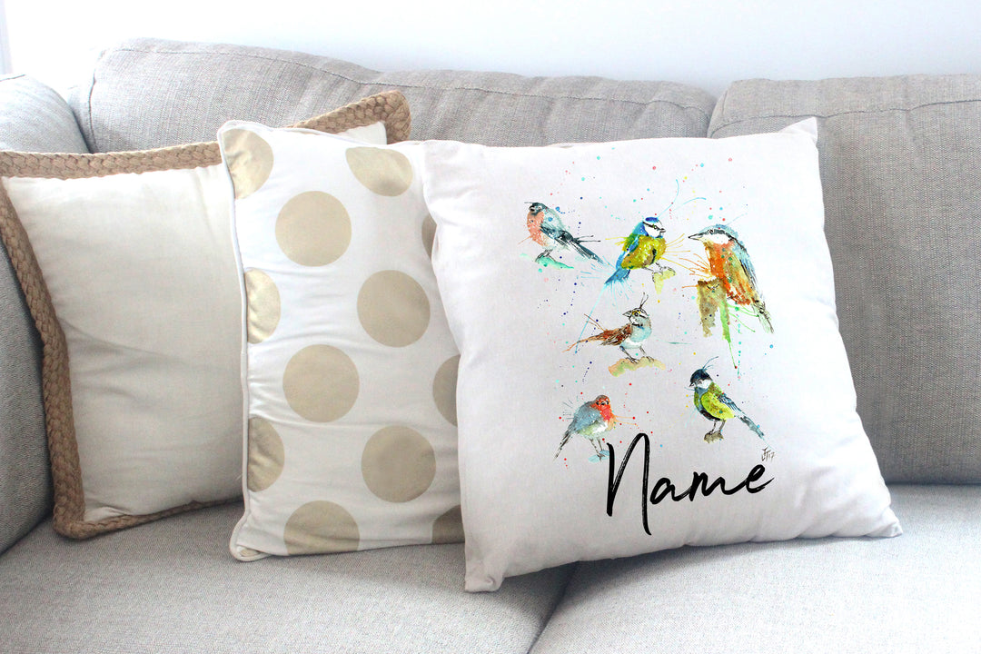 """Brit Birds"" Personalised Cushion Cover"