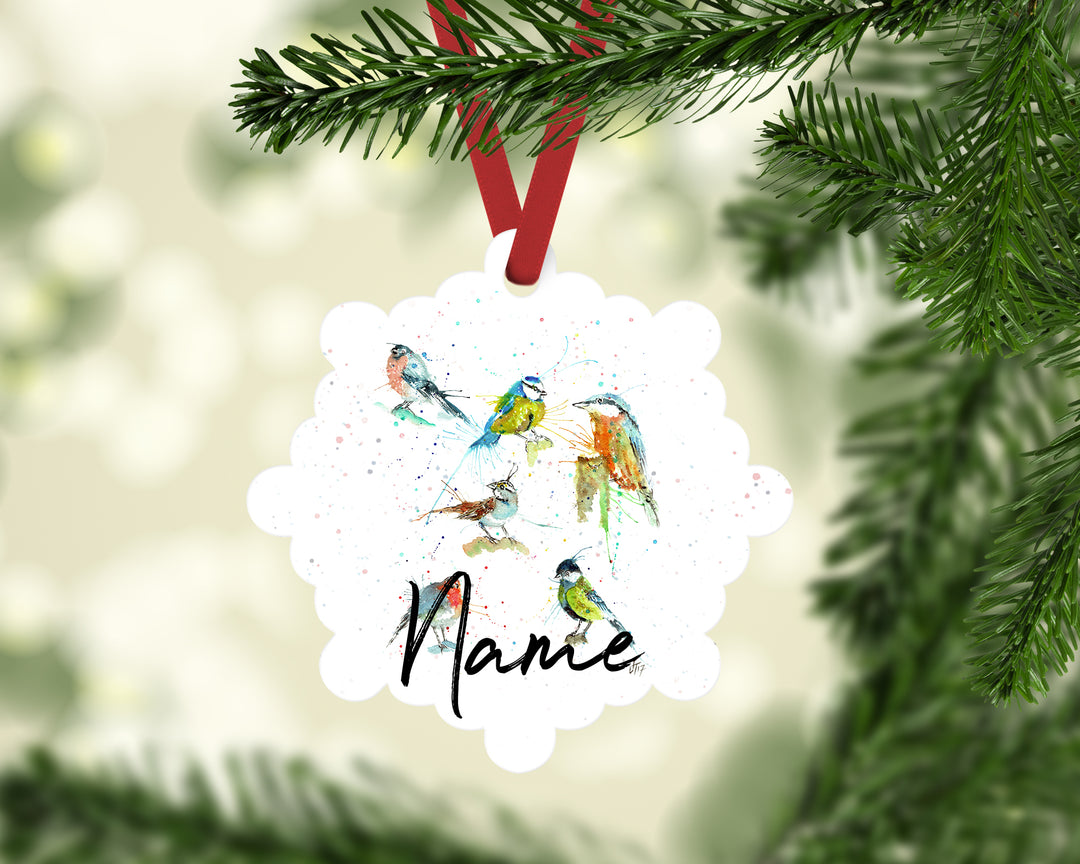 """Brit Birds"" Personalised Aluminium Christmas Decoration"