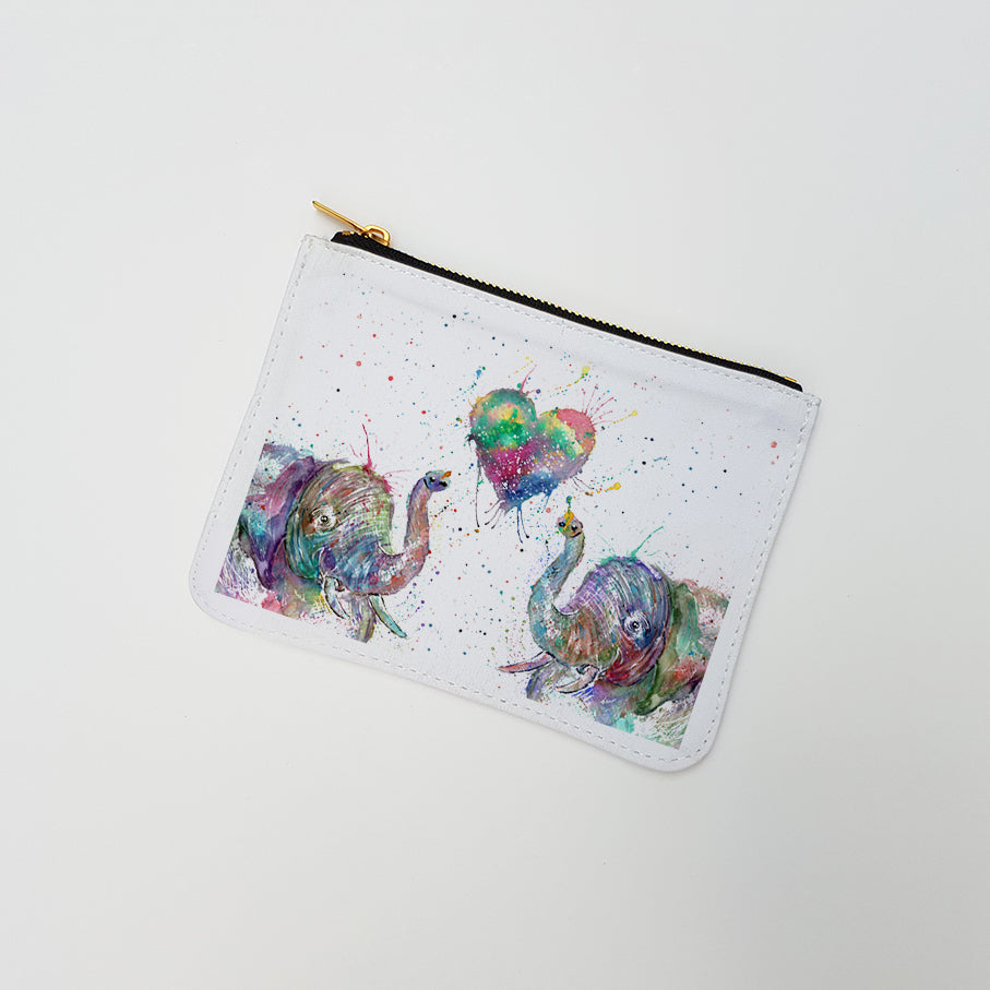 """Romantic Elephants"" Large Coin Pouch"