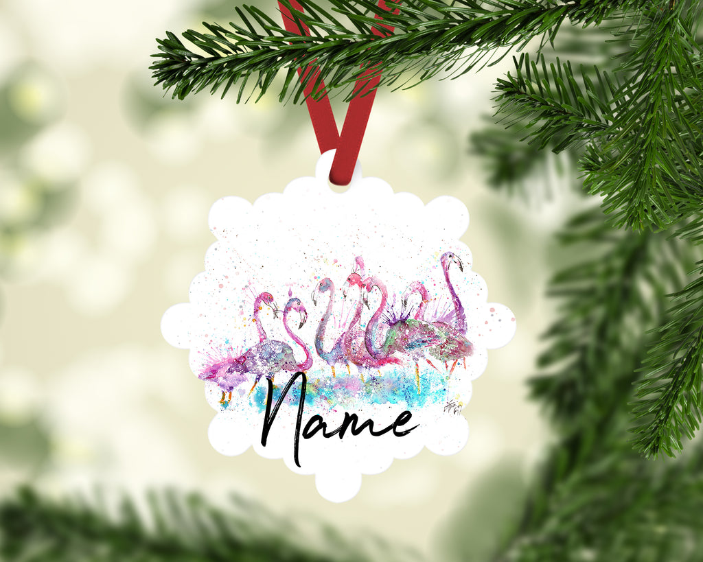 """Flamboyance Flamingo"" Personalised Aluminium Christmas Decoration"