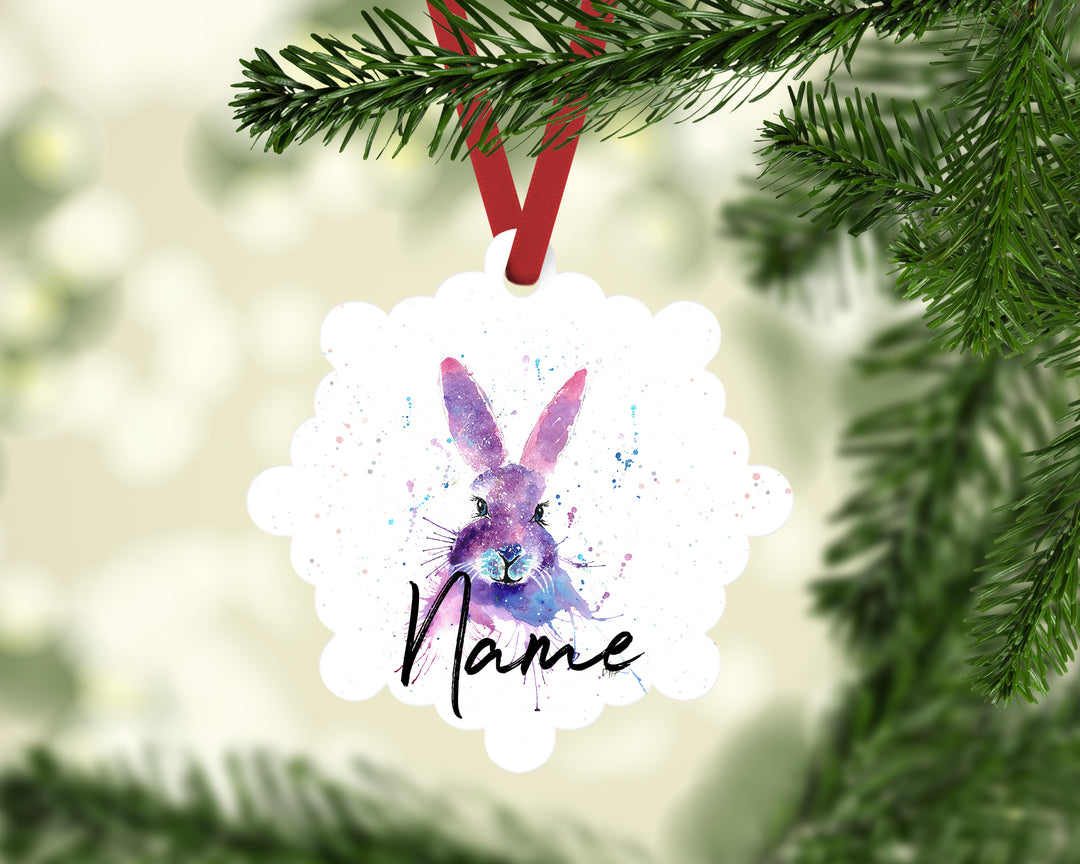 """Berry Hare"" Personalised Aluminium Christmas Decoration"