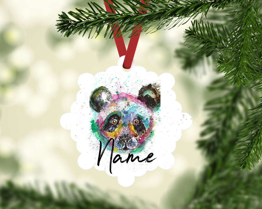 """Sid Panda"" Personalised Aluminium Christmas Decoration"
