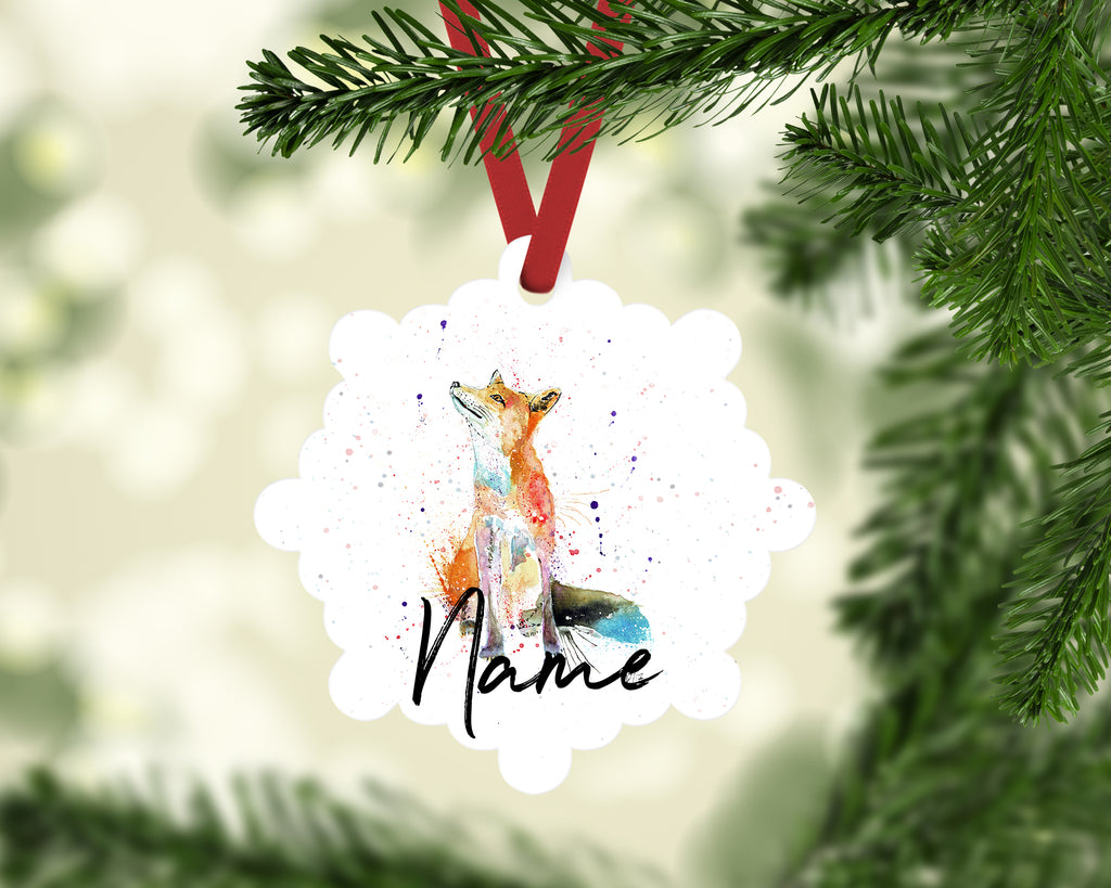 """Wishes (Fox)"" Personalised Aluminium Christmas Decoration"