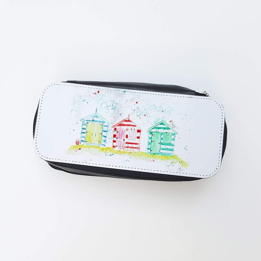 """Beach Huts"" Ladies Makeup Bag"