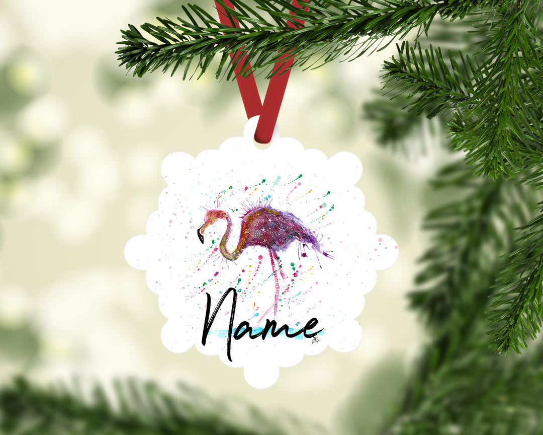 """Doris (Flamingo)"" Personalised Aluminium Christmas Decoration"