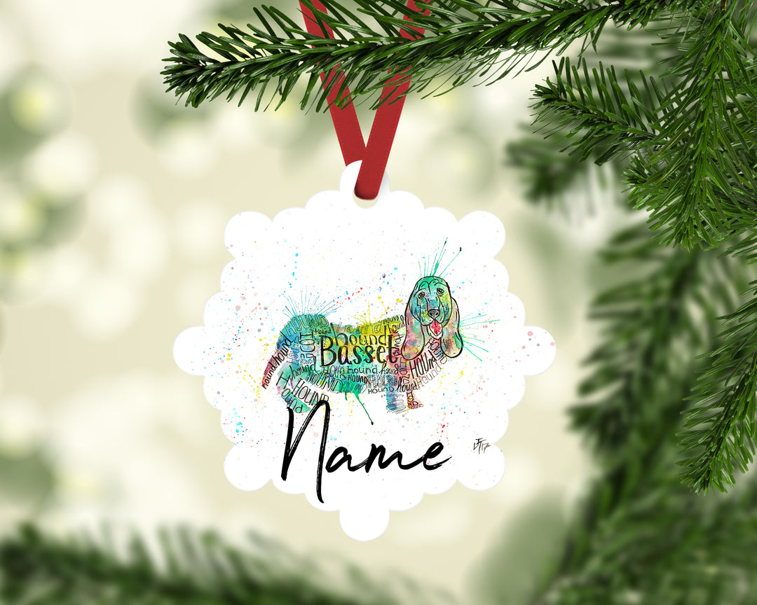 """Basset Splash"" Personalised Aluminium Christmas Decoration"