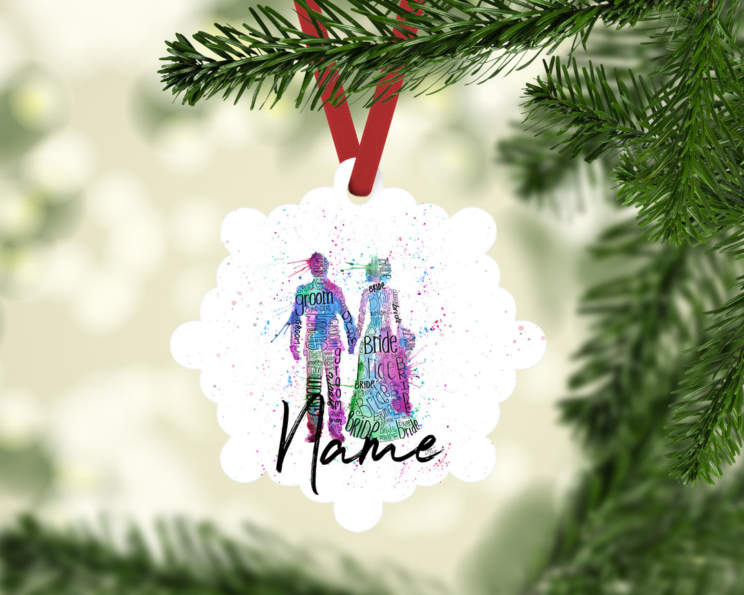 """Bride and Groom (Pink)"" Personalised Aluminium Christmas Decoration"
